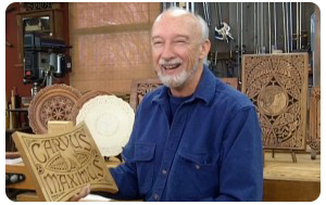 Wayne Barton with Carvings